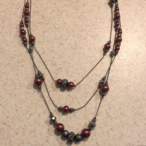 Jewelry - Triple Strand Red and Gray Necklace